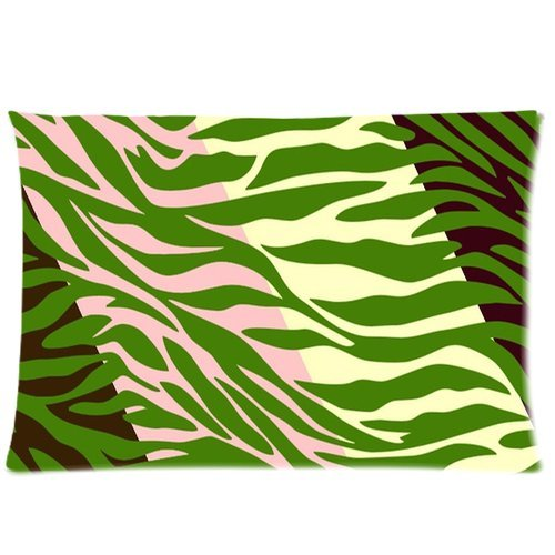 Hipster White Green Zebra Stripes Print Pillow Case Pillow Inner Included Soft Bedding 20X30(One Side) New Fashion front-988088