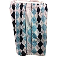 Flow Society Authentic Lacrosse Gear Argyle Sky light Blue/Navy/White Lax Mesh Short Adult Large