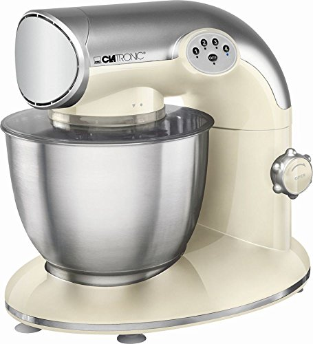 Clatronic Küchenmaschine 1200 Watt mit Edelstahl-Schüssel 5,6 Liter (Knetmaschine, Rührmaschine, Schneebesen, Spritzschutzdeckel, vanille)
