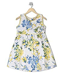 Budding Bees Girls White & Yellow Printed A-Line Dress