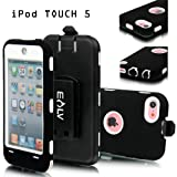 E-LV Full Protection Armor Defender Series Case shell with belt clip holster for iPod Touch 5 5th Generation (White, Ipod Touch 5)