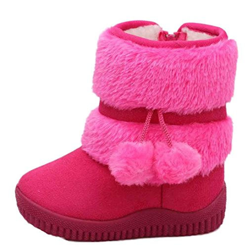 FAPIZI ❈ Boots ❈ Girl Ball Cotton Fashion Winter Baby Child Style Cotton Boot Warm Snow Boots (21, Hot Pink)