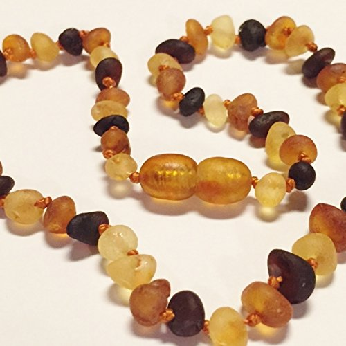 "Genuine Raw Unpolished Multi Baltic Amber Baby Teething Necklace by Nature's Calm® 12"" *Safety Knotted*Screw Closure*"