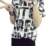 花柄 ロゴ 可愛い デザイン Tシャツ ローマ字 半袖 伸縮性 素材 AHKAH WORKS (XXL)