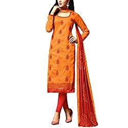 Applecreation Orange Embroidered Dress Material With Matching Dupatta for Women's