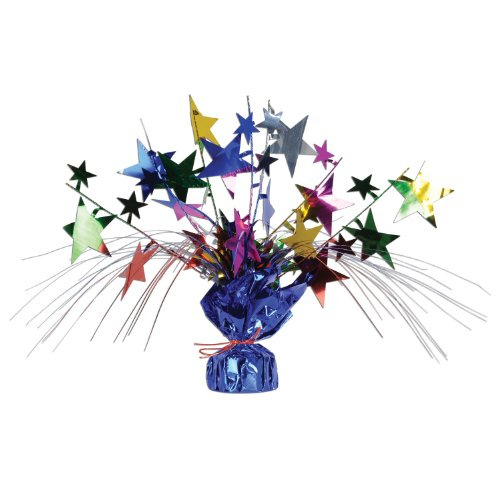 Beistle 1-Pack Star Gleam N Spray Centerpiece, 11-Inch, Multicolor