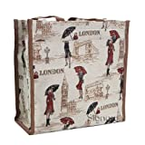 Signare Fashion Canvas/Tapestry Shopping Bag/Tote Bag/ Shoulder Bag/ Box Bag/ Carry All Bag In Miss London Design...