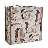 Signare Fashion Canvas/Tapestry Shopping Bag/Tote Bag/ Shoulder Bag/ Box Bag/ Carry All Bag In Miss London Design...