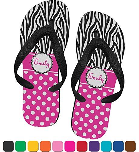 Zebra Print & Polka Dots Flip Flops - Large front-824552