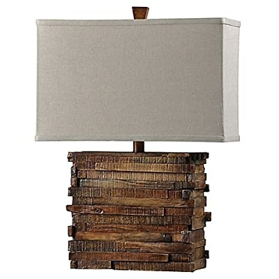 1-Light Faux Wood Layered Table Lamp in Natural | Long Cord Length Allows Easy Placement