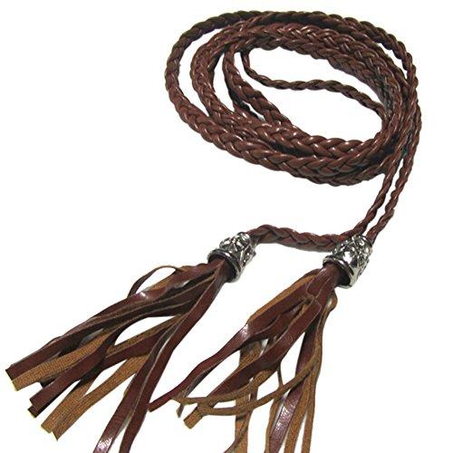 Weixinbuy Women Tassel Clothing Waist Strap Braided Belt Brown