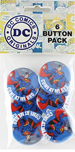 Button set DC Comics Superman Come at Me Bro 6 Individual Loose Buttons, 1.25""