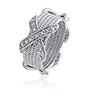Bling Jewelry Sterling Silber Ebnen Cubic Zirconia sechs Reihen Seil Style X Ring