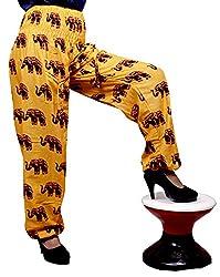 Cotton Elephant Genie Harem Pants Boho Gypsy Trousers Free Size (Yellow)
