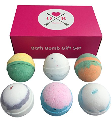 Bath Bombs Gift Set - 6 Extra Large Size, 4.5 Oz Per Scent - Lavender, Cucumber Melon, Moonlight Rose, Grapefruit Tangerine, Black Raspberry Vanilla and Cool Water, Aromatherapy Bath, By Oliver Rocket