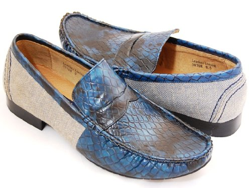 Cheap Blue Croco Loafers by Majestic . Real Leather Lining (B008HRRRWM)