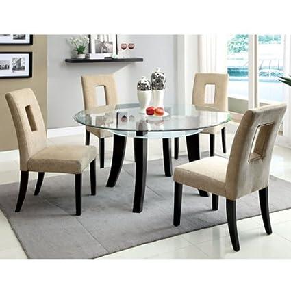 Grandam Espresso Finish 5-Piece Round Dining Table Set