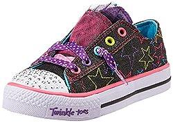 Skechers Girls Shuffles Black and Multi Canvas Sports Shoes - 1 kids UK/India(33.5 EU)(2 US)