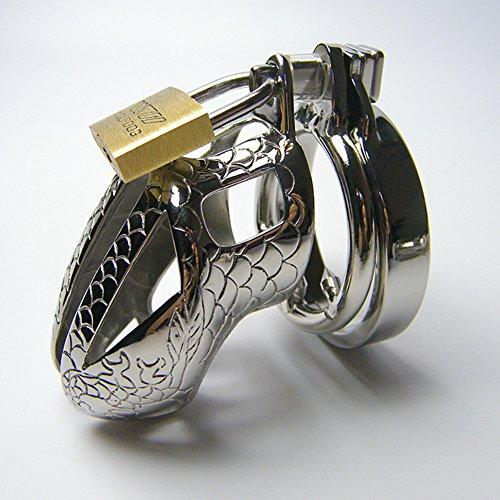 Greenpinecone Edelstahl Metall Keuschheitsgürtel Keuschheitskäfig Penis Keuschheit Cock Cage Chastity Belt Peniskäfig Anti-Rutsch-Ring für Männer