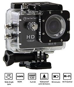 [Nouvelle Version] TecTecTec!® XPRO1 Caméra de Sport et Action Wi-Fi Haute Définition Full HD 1080p avec Caméscope HD Vidéo de 12 Mégapixels - Action cam avec grand angle 170 degrés - Commande à distance via Wi-Fi (Couleur noire)