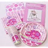 Girl's Pink Ladybird 1st Birthday Party Tableware Pack for 16 People - includes Cups, Plates, Napkins, Tablecover & High Chair Decoration Kit