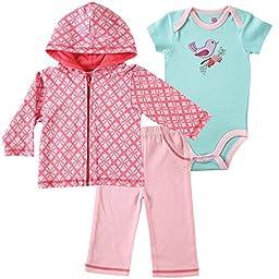 Hudson Baby Baby-Girls 3 Piece Hoodie Bodysuit and Pant, Bird, 3-6 Months