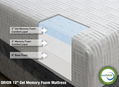 orion 12 quot gel memory foam mattress by heavenly bedding 100