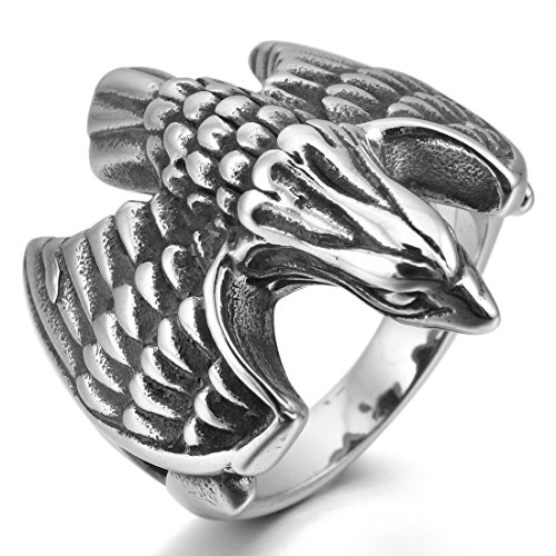 Men'S Stainless Steel Ring Silver Black Eagle Hawk Punk Rock Size13