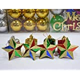 "AsianHobbyCrafts Christmas Tree Decorations Hangings:plastic Star 4pcs Per Pack :Size 1.5""(approx) For Christmas..."