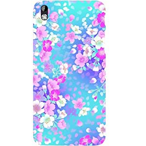Casotec Floral Blue Pattern Design Hard Back Case Cover for HTC Desire 816
