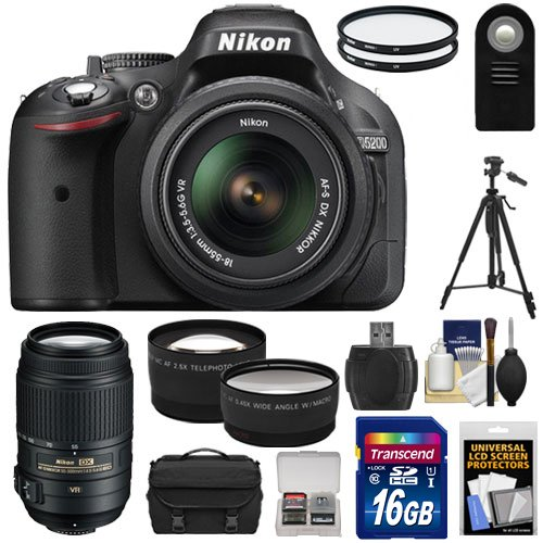 Nikon D5200 Digital Slr Camera & 18-55Mm G Vr Dx Af-S Zoom Lens (Black) With 55-300Mm Vr Lens + 16Gb Card + Case + Filters + Tele/Wide Lenses + Tripod + Remote + Accessory Kit
