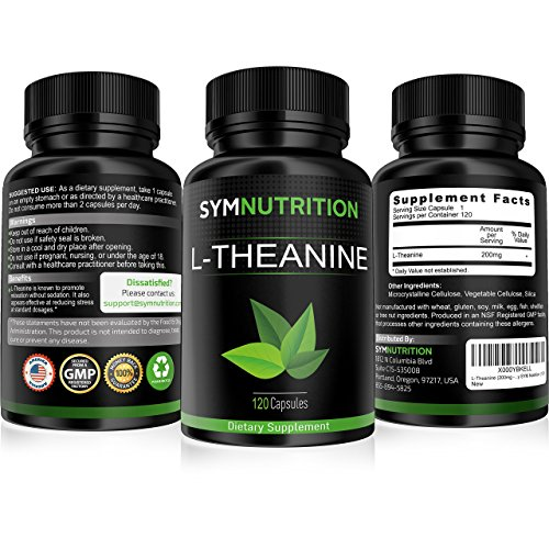 L-Theanine 200mg - 120 Count ● Effective for Stress Relief, Focus and Relaxation ● Vegetarian Capsules of Exceptional Purity - By SYM Nutrition (Advanced Caffeine Prolab compare prices)