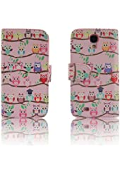 Pink OWLS Leather Wallet Purse clutch Handbag Samsung S4 Case Cover ID,Credit Card,Cash