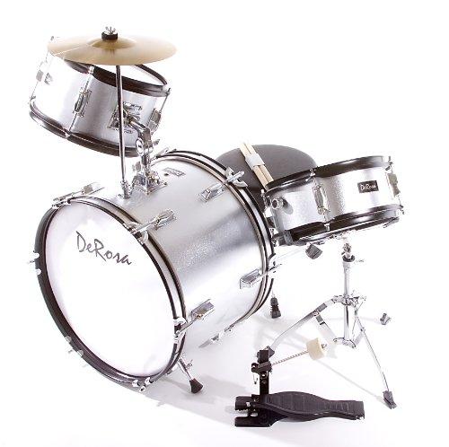 De Rosa DRM316-SL Junior 3 Piece 16 Inch Drum Set with Chair, Silver