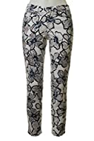 Cambio Lilian Cropped Slim Pop Art Floral Pant in Dune