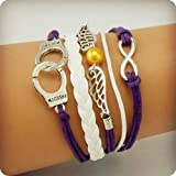 Vintage Style Purple and White Leather Rope Handcuffs Love Wings Yellow Pearl Love Bracelet