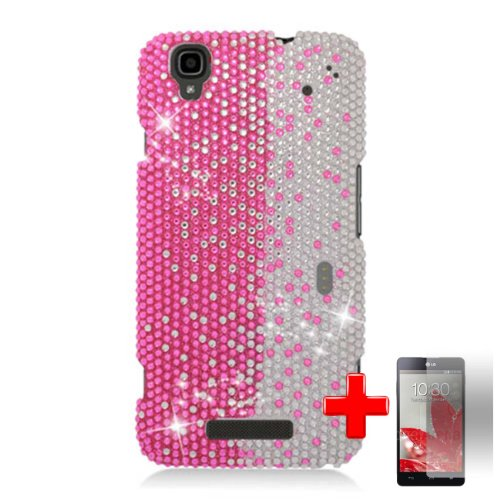 Zte Max N9520 / Boost Max (Boost Mobile)Ê2 Piece Snap On Rhinestone/Diamond/Bling Case Cover, Pink Silver Vertical Waterfall Design + Screen Protector