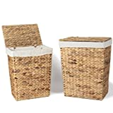 Adeco Set Of Two Seagrass Laundry Baskets With Lid