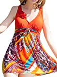 Women's Halter Shaping Body Two-Piece Swimsuit Plus Size Swimwear(Orange1,2XL) thumbnail