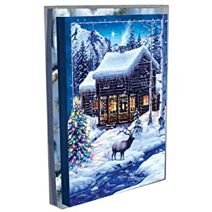 #!Cheap Tree-Free Greetings Cozy Christmas Cabin Holiday Boxed Cards, 5 x 7 Inches, 12 Cards and Envelopes per Set, Multi-Color (91171)