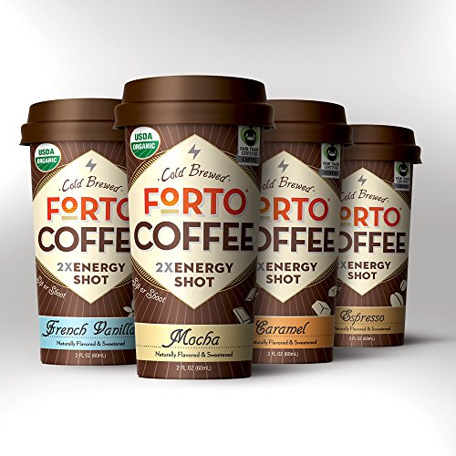 FORTO - Variety Pack (12pck) - organic Coffee Energy Shot with 2x ENERGY (200mg organic caffeine) - 3 Mocha + 3 Vanilla + 3 Espresso + 3 Caramel - 2oz. handheld bottle, USDA-Organic, Fair Trade certified, 100% Arabica beans, Cold Brewed. **Share in our Love of Strong Coffee!** (Espresso Shot compare prices)