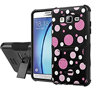 Galaxy [On5] Armor Case [NakedShield] [Black/Black] Urban Shockproof Defender [Kick Stand] - [Purple White Dots] for Samsung Galaxy [On5]