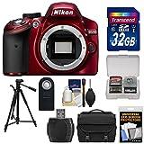 Nikon D3200 Digital SLR Camera Body (Red) with 32GB Card + Case + Tripod + Remote + Kit