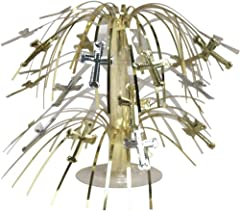 Creative Converting Silver and Gold Cross Mini Foil Spray Centerpiece for Baptism, Christening, Confirmation, Communion