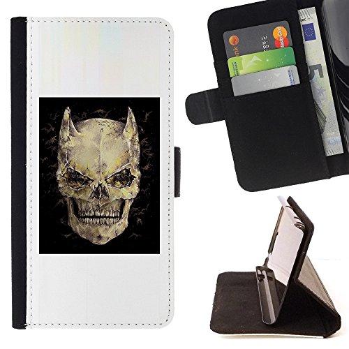 Pelle Portafoglio Custodia protettiva Cassa Leather Wallet Case for LG K10 / CECELL Phone case / / Devil Skull Horns Black Poster Death /