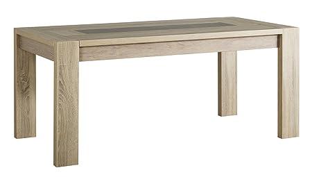 Table à manger rectangulaire coloris chêne brut, H 79 x L 180 x P 90 cm -PEGANE-