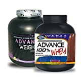 Weight Gainer 1KG Banana& ADVANCE 100% WHEY 25gm Protein Per 33gm 1kg Chocolate (Combo Offer)
