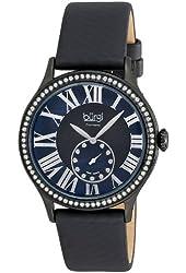 Burgi Women's Dial Swiss Quartz Diamond Strap Watch - Black