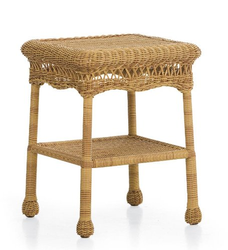 Lightweight, All-Weather Resin Outdoor Wicker End Table in Tan photo