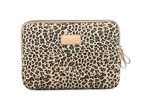 LISEN Leopard Canvas Cotton Print Computer Laptop Sleeve Bag Notebook Pouch Padded Case Bag Cover for Laptop / Notebook Computer / MacBook / MacBook Pro / MacBook Air/ Tablet 14 Inches